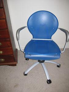 Blue Hard Plastic Office Chair - Adjustable London Ontario image 1