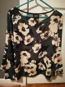 Retro W5 Green Women Blouse Floral