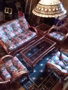 Wicker Rattan Bamboo Pier 1 Imports Complete Set