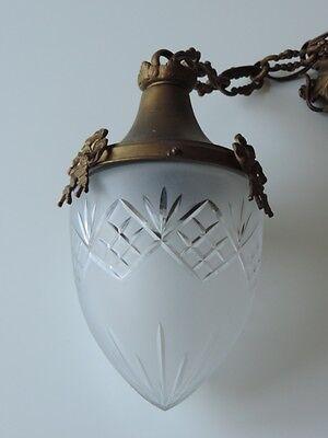 ALTE  LAMPE DECKENLAMPE BRONZE GLAS JUGENDSTIL