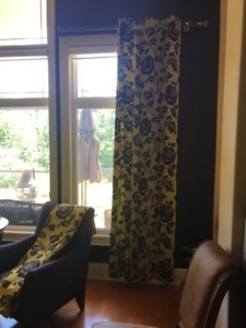 Custom Made Floral lined Drapes- 2 panels