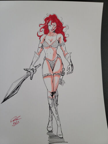Rare Lucky Red Sonja Hand Pencil Ink Marker Illustration Sign Print 8.5x11
