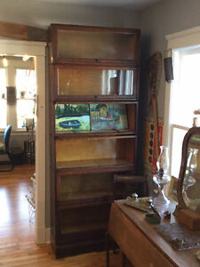 RARE SIX SECTION BOOKCASE WITH GLASS DOORS