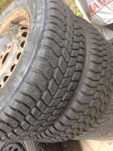 2 New Studded Tires/2 Summer tires on rims