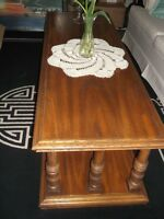 3 PIECES - SOLID OAK COFFEE AND 2 END TABLES