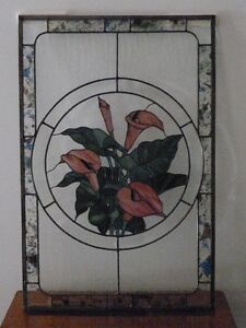 """""""CALLA LILLIES"""" STAINED GLASS PANEL AND JAMES LUMBAR LTD PRINT"""