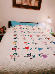 Hand crochet Queen cotton bedspread with cotton handembroidered