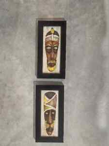 Vodoo mask wall hung paintings