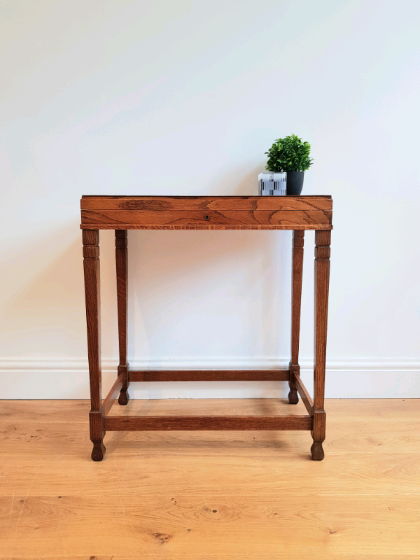 Vintage Antique Oak Hall Console Or Side Table In