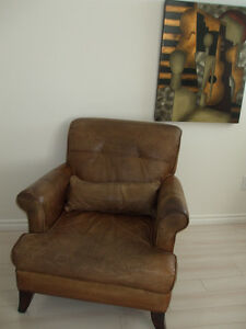 LEATHER CHAIR and PICTURE