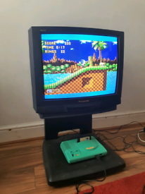 "Panasonic Quintrix TX-25MK1 25"" retro CRT TV with stand and remote"