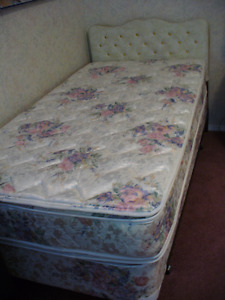 Twin mattress and boxspring plus metal frame and vinyl Headboard