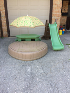 Step2 Pool/Sandbox with Built-In Picnic Table and Matching Slide