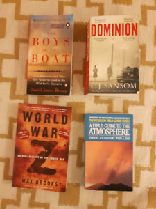 World War Z, Dominion, The Boys on the Boat, A Field Guide to...