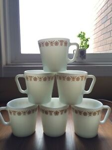 Vintage Pyrex cups set of 6 butterfly