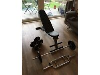 Collapsible weights bench, Ez Bar, Tricep Bar, Dumbells & 40kg