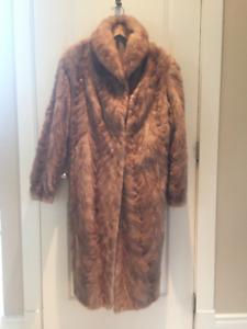 Ladies Full Length Honey Colored Mink Coat - Size Large