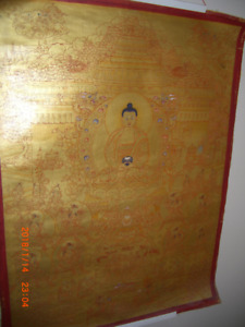 BEAUTIFUL  REAL GOLD ON RED SILK SCROLL OF BUDDHAS