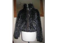 SUPER SEXY - Designer RINO&PELLE Soft Faux Fur Winter Jacket Coat 12UK 40EU
