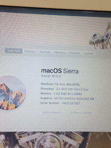 "Macbook 13.3"" Mid 2010 Mac OS Sierra Version 10.12.4"