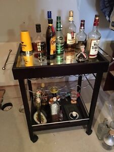 Bar Cart with wheels and mirrored top