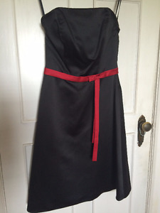 Black with red ribbon strapless dress