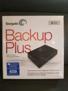 "Sealed Seagate Backup Plus 3TB 3.5"" USB 3.0 External Hard Drive"