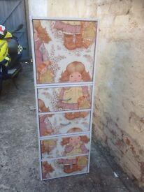 Decoupage girls tall storage unit