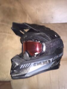 Mint XL 509 snowmobile helmet and goggles