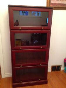 Dark Wood colour bookcase with class doors