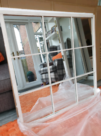 SALE, stunning brushed white metal industrial window mirror