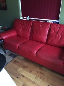 Red leather sofa double bed