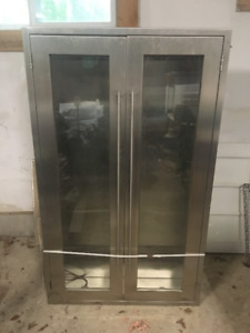 Full Stainless Steel Glass Door Wall Cabinet