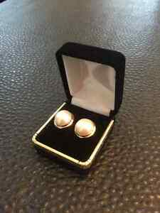 14K GENUINE MABE PEARL EARRINGS/MATCHING PINKIE RING
