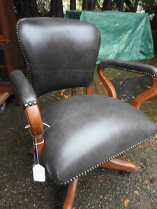 antique vintage swivel office chair, new leather, restored....