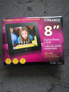 """Aluratek 8"""" Digital Photo Frame, never used, still in the box,"""