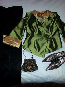 Pantalon, veste, souliers et sacoche. Design chinois.