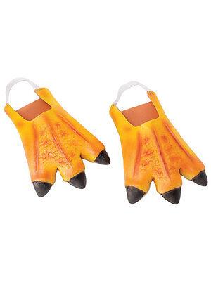 Chicken Feet Slippers (Adult Orange Chicken Duck Feet Slippers Animals Rubber Fancy Dress Accessory)
