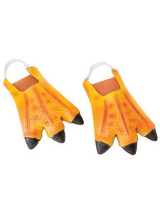 Adult Orange Chicken Duck Feet Slippers Animals Rubber Fancy Dress Accessory New