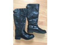 Fat Face black knee high boot
