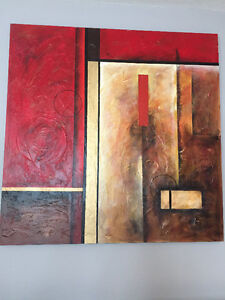 Large Red Wall Art Painting (4.25ft x 4.25ft)