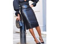 Faux leather and black Pearl skirt size 16-18 new with tags