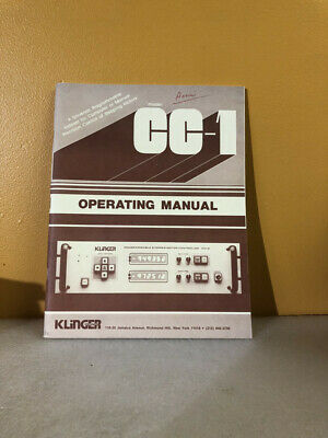 Klinger Model Cc-1 Programmable Stepper Motor Controller Operating Manual