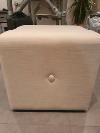 Cream footstool with button detail