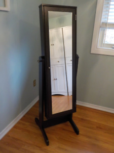 Full length mirror with cabinet.  Jewellery armoire.