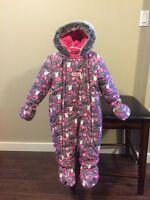 NEW Girls 18 Months, One Piece Pink & Grey Osh Kosh Snowsuit