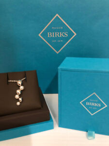 Authentic BIRKS Pebble + Pearl Sterling Silver Necklace