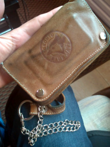 Mens Roots genuine leather wallet with chain