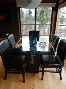 Modern Style  Glass Dining Room Table and Chairs