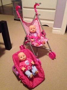 Doll Car seat and stroller.